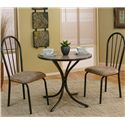 Cramco, Inc Linen 3 Piece Round Beige Table with Side Chairs - Item Number: D8009-59+2X01
