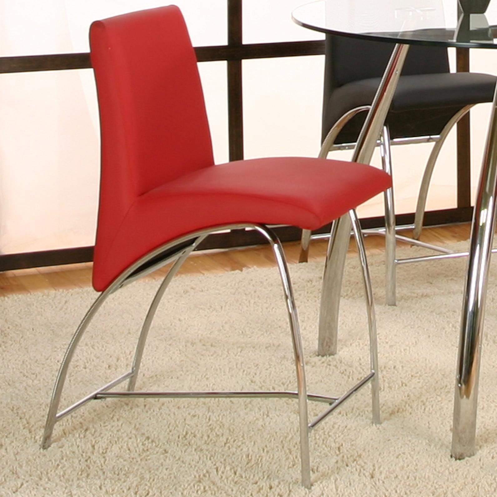 "Cramco, Inc Mensa Red Polyurethane/Chrome 24"" Counter Stool - Item Number: F5457-23+13"