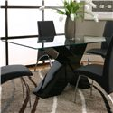 Cramco, Inc Mensa 5 Piece Rectangular Glass Top Table with Black Base and Black Chairs - Table