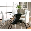 Cramco, Inc Mensa 5 Piece Rectangular Glass Top Table with Black Base and White Chairs