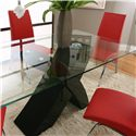 Cramco, Inc Mensa 5 Piece Rectangular Glass Top Table with Black Base and Red Chairs  - Table