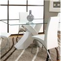 Cramco, Inc Mensa 5 Piece Rectangular Glass Top Table with White Base and White Chairs  - Table