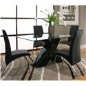 Cramco, Inc Mensa Rectangular Tempered Glass Table Top with Polyester/Polyurethane Black Base - Shown with Black Chairs