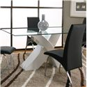 Cramco, Inc Mensa Rectangular Glass Table Top with White Base  - Item Number: F5457-50+42