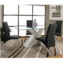 Cramco, Inc Mensa Rectangular Tempered Glass Table Top with Polyester/Polyurethane White Base  - Shown with Black Side Chairs