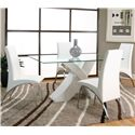 Cramco, Inc Mensa Rectangular Tempered Glass Table Top with Polyester/Polyurethane White Base  - Shown with White Side Chairs