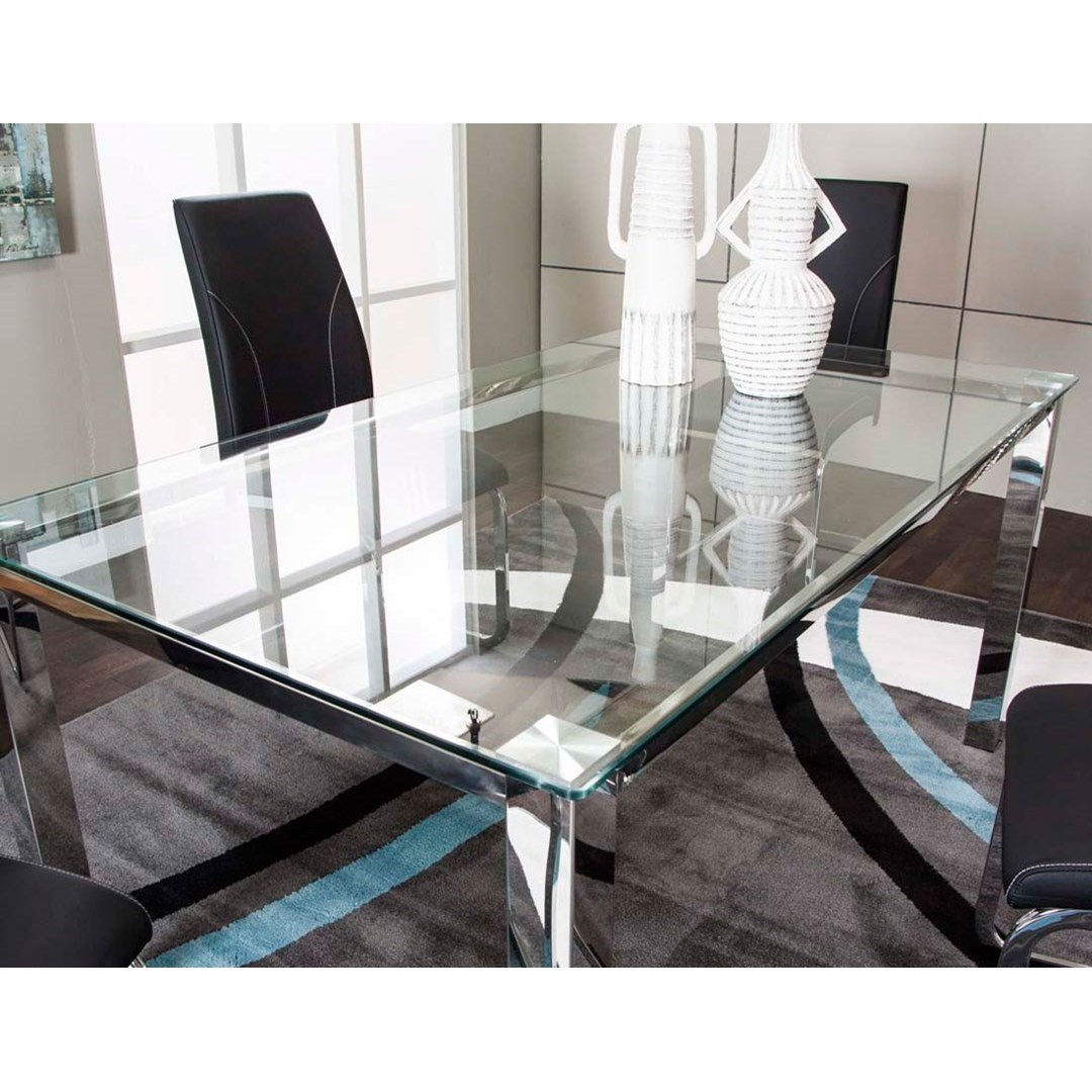 Cramco Inc Skyline Glass Top Dining Table With Chrome Base Value