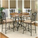 Cramco, Inc Cramco Trading Company - Ravine Round Pub Table w/ Oal Wood Top - Counter Height Table Shown with Counter Stools