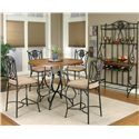 Cramco, Inc Cramco Trading Company - Ravine Round Pub Table w/ Oal Wood Top - Counter Height Table Shown in Room Setting with Counter Stools and Baker\'s Rack