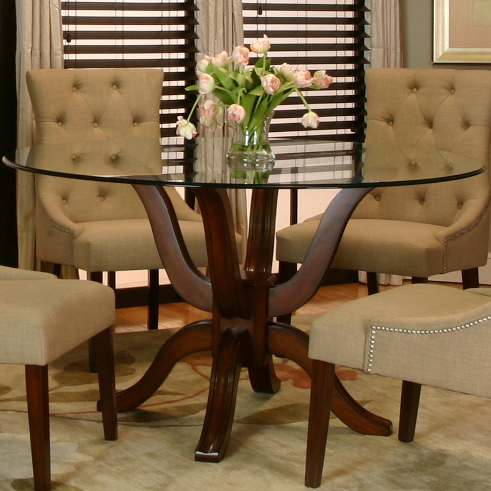 Cramco Inc Sonnet Round Single Pedestal Table W Glass
