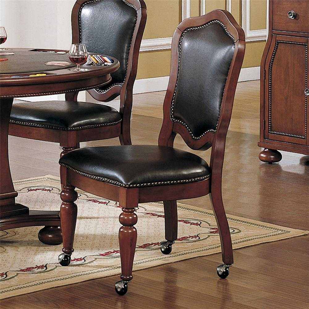Dining Chairs With Wheels: Faran Brown Cherry Finish