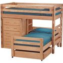 Crate Designs Pine Bedroom Casual Twin Loft Bed - Shown with Caster Bed, Chest, Bookshelf, and Drawer