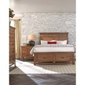 Cresent Fine Furniture Camden Queen Storage Panel Bed with 2 Footboard Drawers