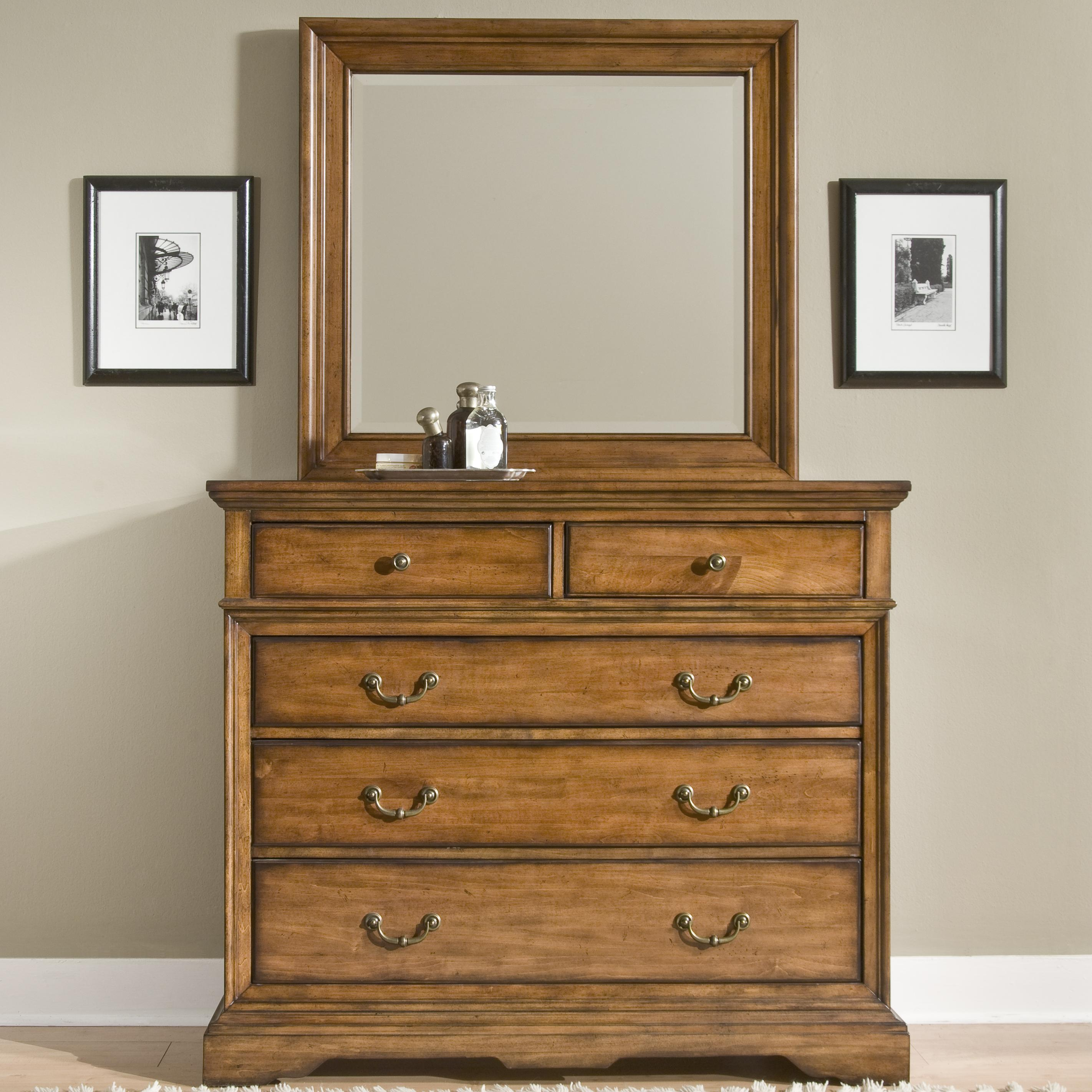 Cresent Fine Furniture Cresent Classics   Casual Living 4 Drawer Small  Media Dresser U0026 Mirror   AHFA   Dresser U0026 Mirror Dealer Locator