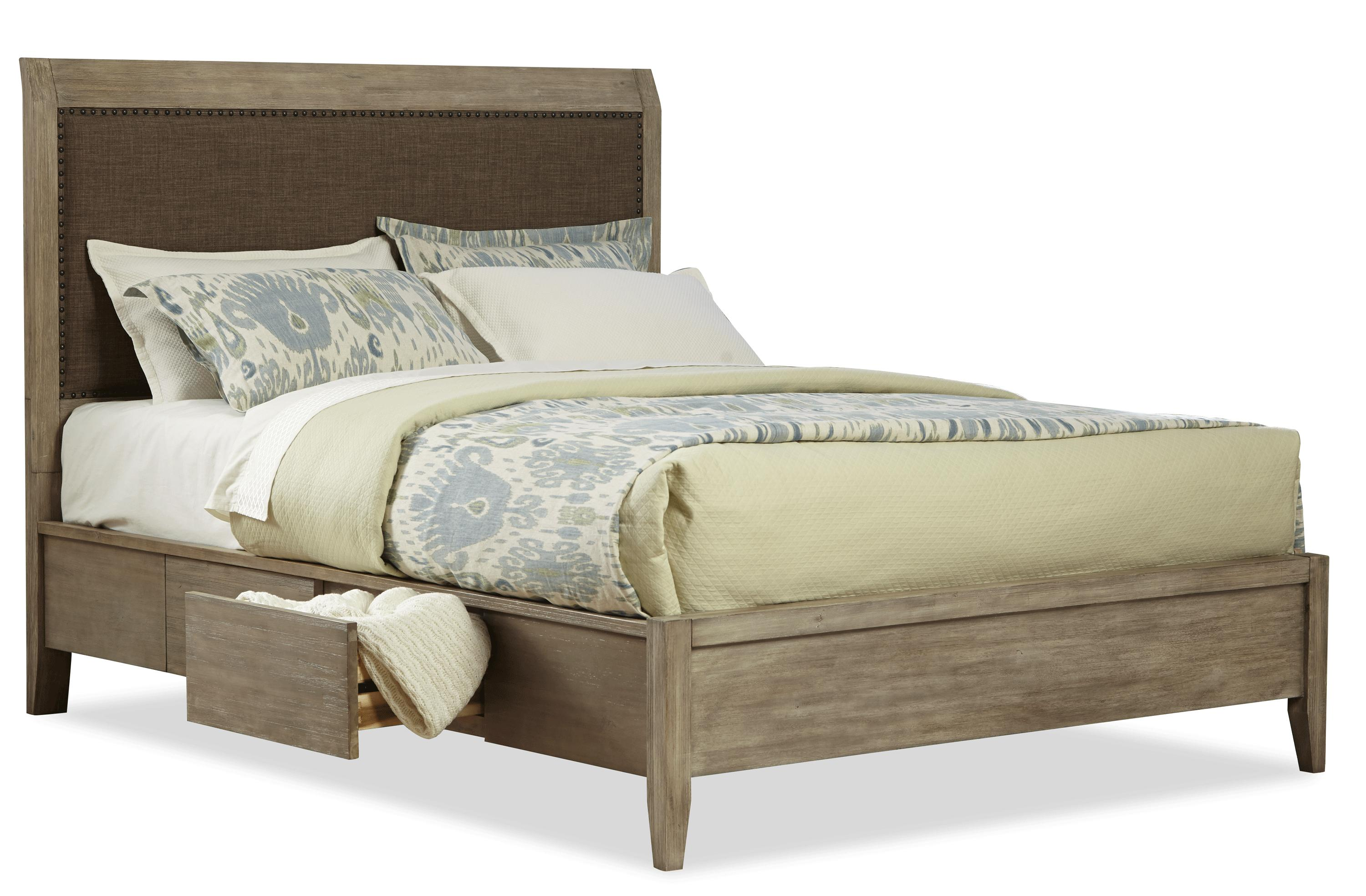 Cresent Fine Furniture Corliss Landing Queen Upholstered Storage Bed - Item Number: 5633QB+32QRL+32QRS+32QSL