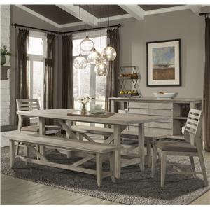 Cresent Fine Furniture Corliss Landing Table & Chair Set w/ Benches
