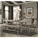 Cresent Fine Furniture Corliss Landing Table & Chair Set w/ Benches - Item Number: 5650+2x58+2x59