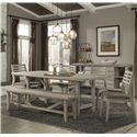 Cresent Fine Furniture Corliss Landing Table, Chair & Bench Set - Item Number: 5650+4x58+59