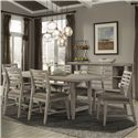 Cresent Fine Furniture Corliss Landing 7 PC Table & Chair Set - Item Number: 5650+6x5658