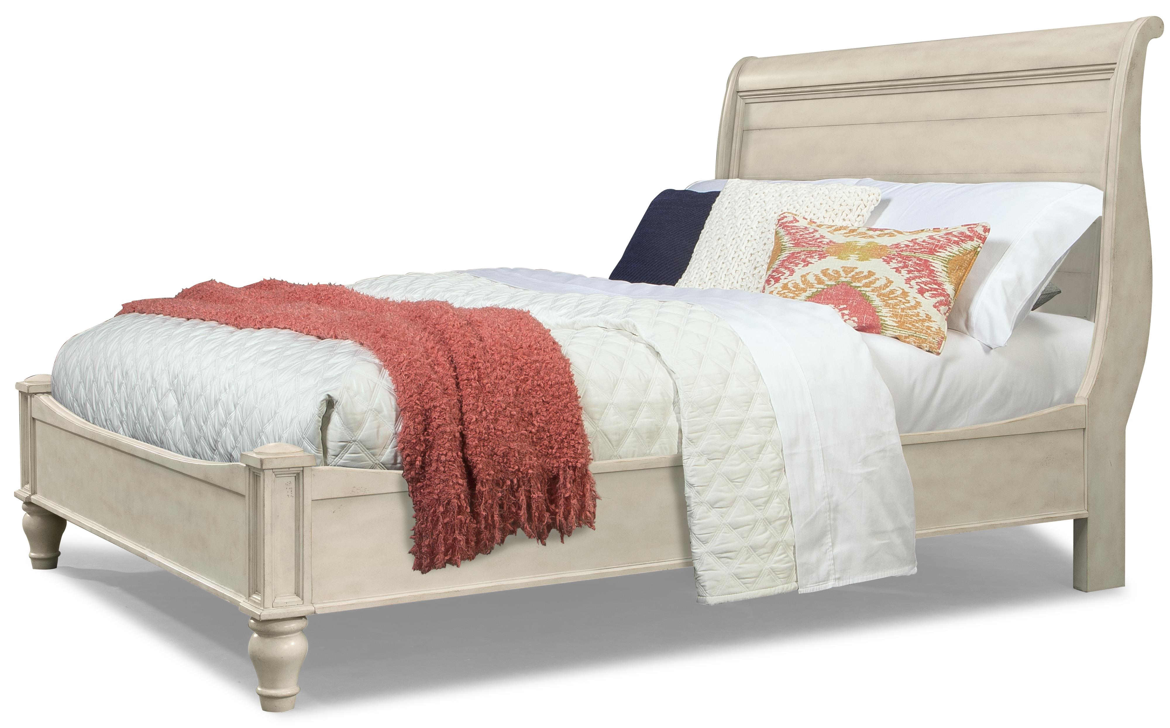 Cresent Fine Furniture Cottage Queen Antiqued White Storage Sleigh Bed - Item Number: 201-132QH+QFS+QRS