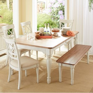 Cresent Fine Furniture Cottage 6 Piece Table and Chair Set with Bench & Table and Chair Sets | Delaware Maryland Virginia Delmarva Table ...