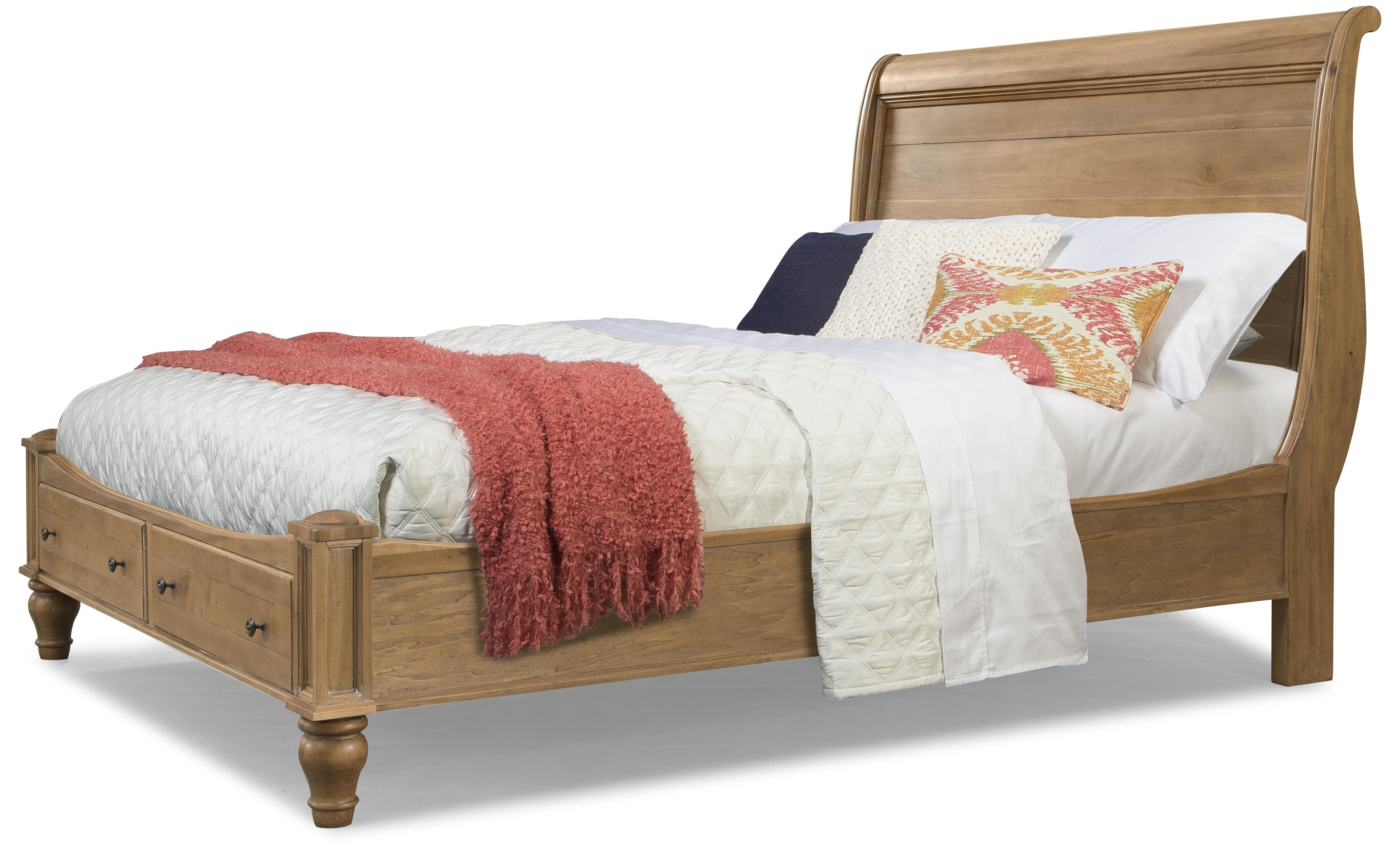 Cresent Fine Furniture Cottage Queen Natural Storage Sleigh Bed - Item Number: 201-232QH+QFS+QRS