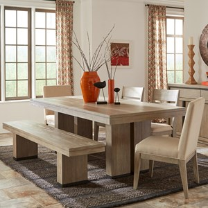 Cresent Fine Furniture Larkspur 6 Piece Table and Chair Set with Bench