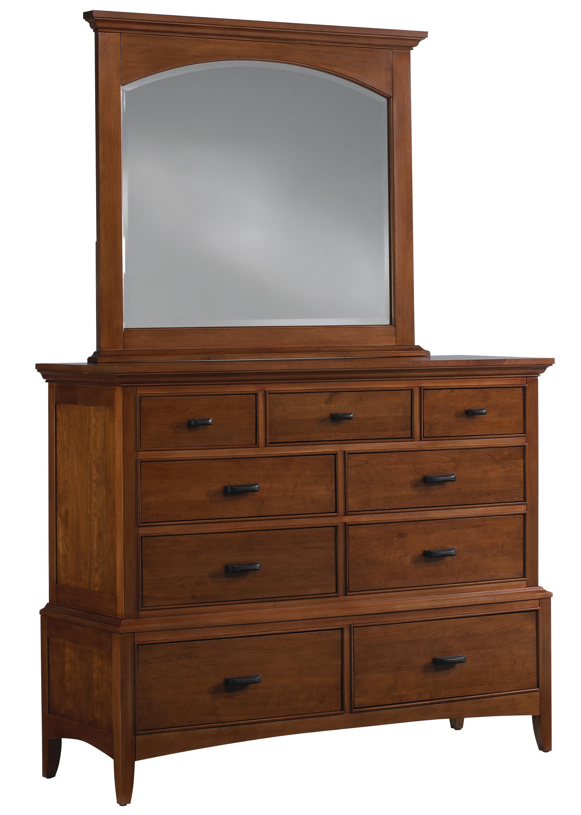 Cresent Fine Furniture Cresent Classics - Modern Shaker Dresser & Mirror - Item Number: 13-01+02