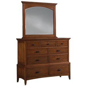 Cresent Fine Furniture Cresent Classics - Modern Shaker Dresser & Mirror