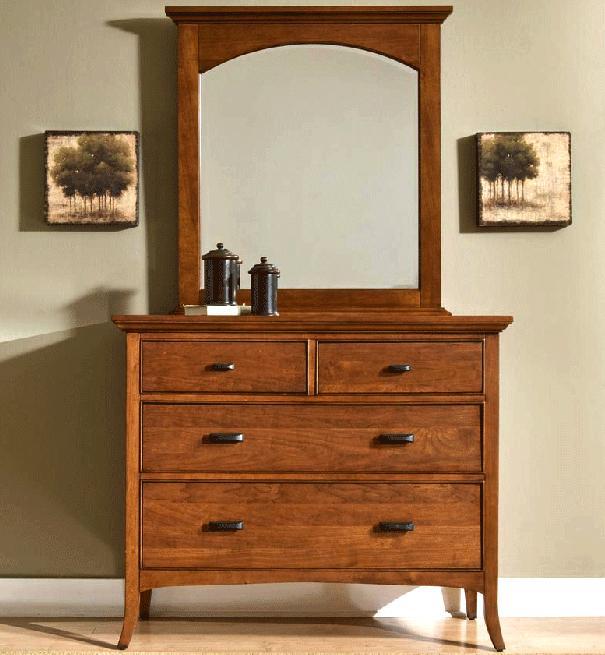 Cresent Fine Furniture Cresent Classics - Modern Shaker Small Dresser & Mirror - Item Number: 1303+1304