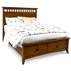 Cresent Fine Furniture Cresent Classics - Modern Shaker Queen Slat Panel Storage Bed