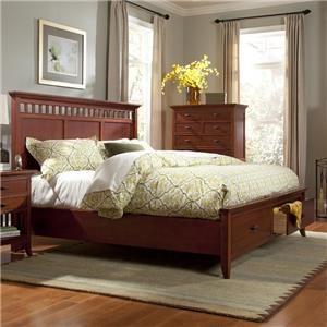 Cresent Fine Furniture Cresent Classics - Modern Shaker Queen Slat Panel Storage Bed