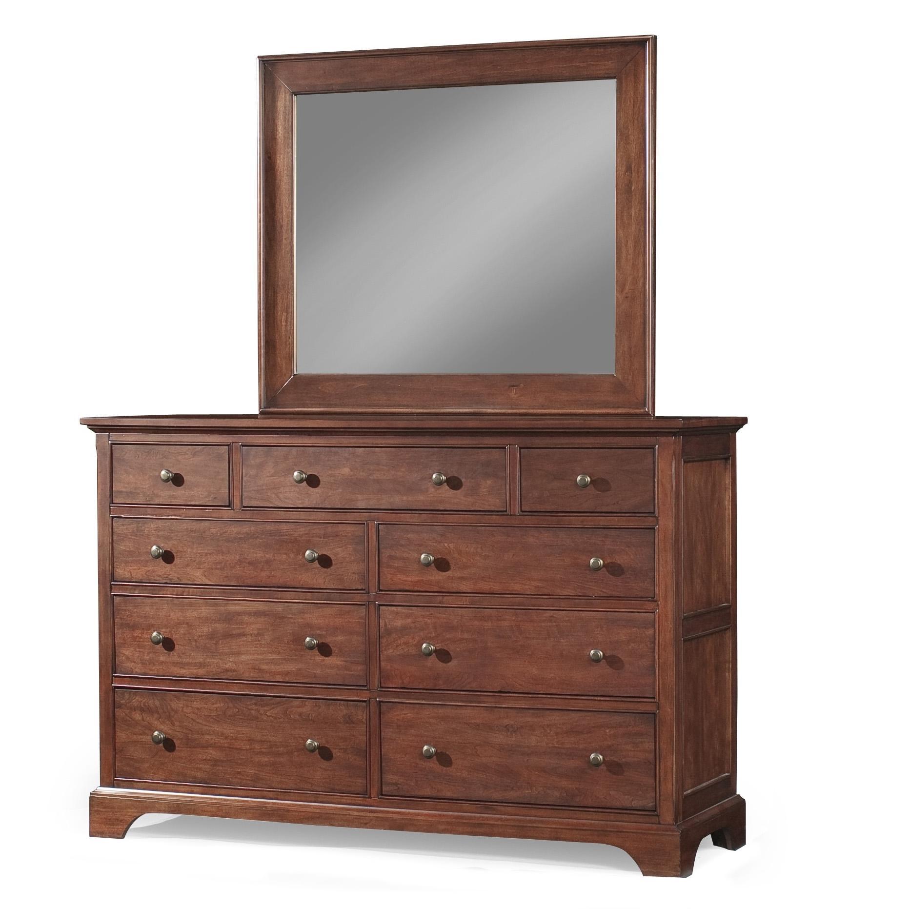 Cresent Fine Furniture Retreat Cherry Dresser & Mirror - Item Number: 1501+1502