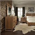 Cresent Fine Furniture Waverly King Panel Low Profile Bed with 2 Storage Drawers - Shown with Dresser, Mirror & Nightstand