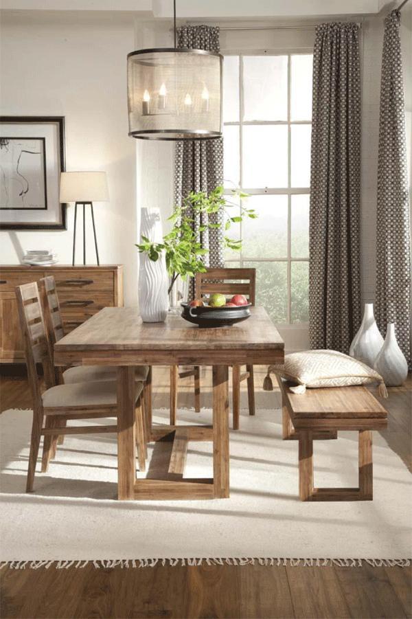Rustic Cherry Rectangular Table Formal Dining Room Set: Cresent Fine Furniture Waverly 5550 Modern Rectangular