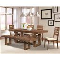 Cresent Fine Furniture Waverly Ladderback Dining Side Chair with Polyester Upholstered Cushion Seat - 5558 - Shown with Trestle Table & Dining Bench