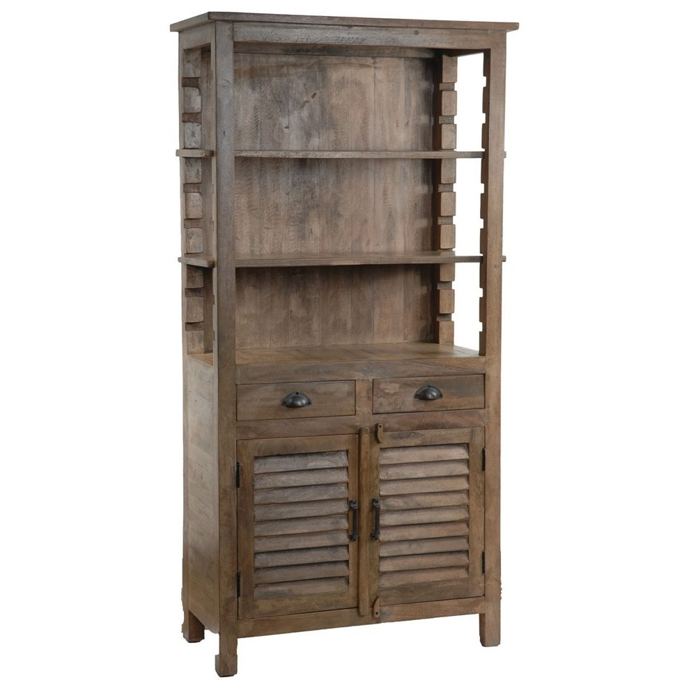 Accent Furniture Bengal Manor Mango Wood Grey Bookcase by Crestview Collection at Factory Direct Furniture