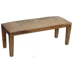 Crestview Collection Accent Furniture Bengal Manor Mango Wood Burlap Bench