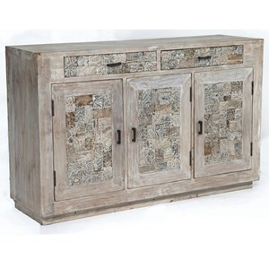 Crestview Collection Accent Furniture Bengal Manor Reclaimed Mango Wood Tiles Side