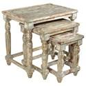 Crestview Collection Accent Furniture Bengal Manor Mango Wood Distressed Grey Set  - Item Number: CVFNR354