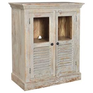 Crestview Collection Accent Furniture Bengal Manor Mango Wood Aged Ash 2  Door Louv