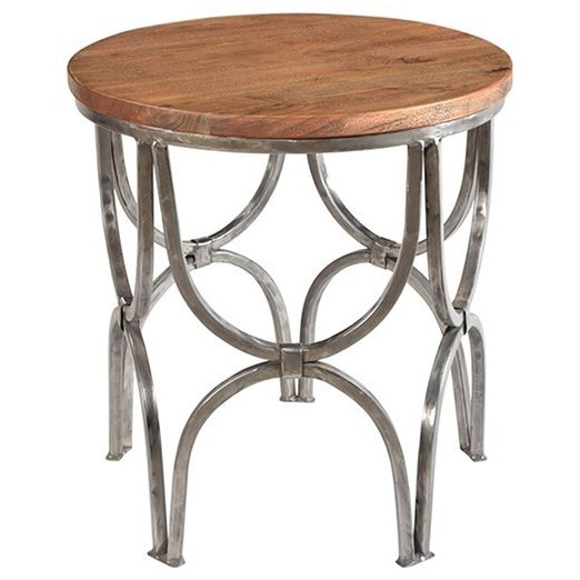 Accent Furniture Bengal Manor Mango Wood and Steel Round End  by Crestview Collection at Factory Direct Furniture
