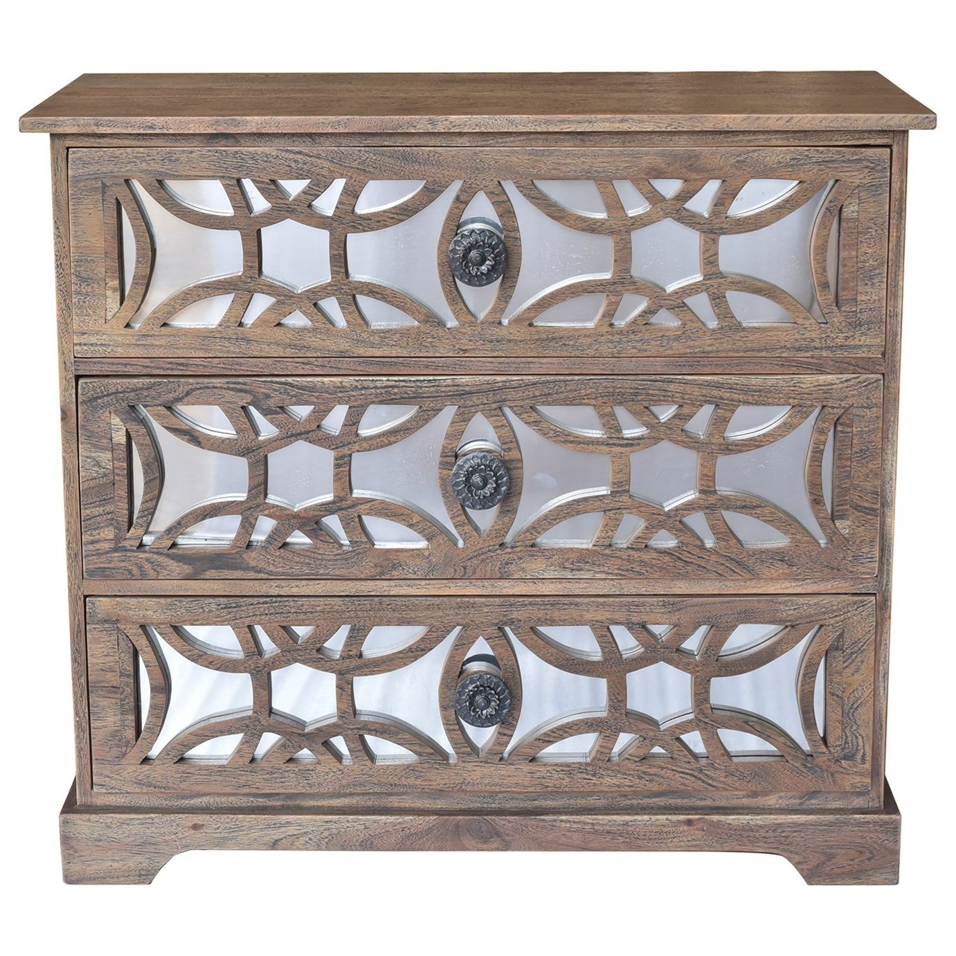 Accent Furniture Bengal Manor Dark Mango Wood 3 Drawer Fretwo by Crestview Collection at Factory Direct Furniture