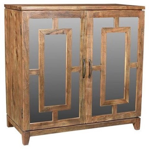 Accent Furniture Acacia Wood Mirrored Cabinet by Crestview Collection at Factory Direct Furniture