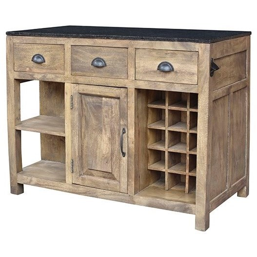 Accent Furniture Mango Wood and Granite Island by Crestview Collection at Factory Direct Furniture
