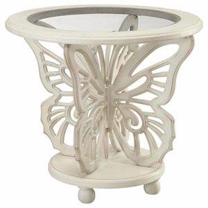 Crestview Collection Accent Furniture Bethany White Butterfly Table