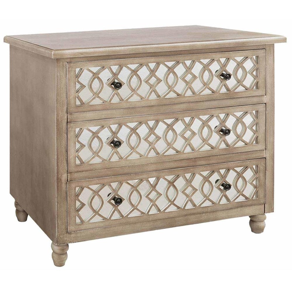 Accent Furniture Veranda 3 Drawer Sandstone And Mirror Chest by Crestview Collection at Factory Direct Furniture