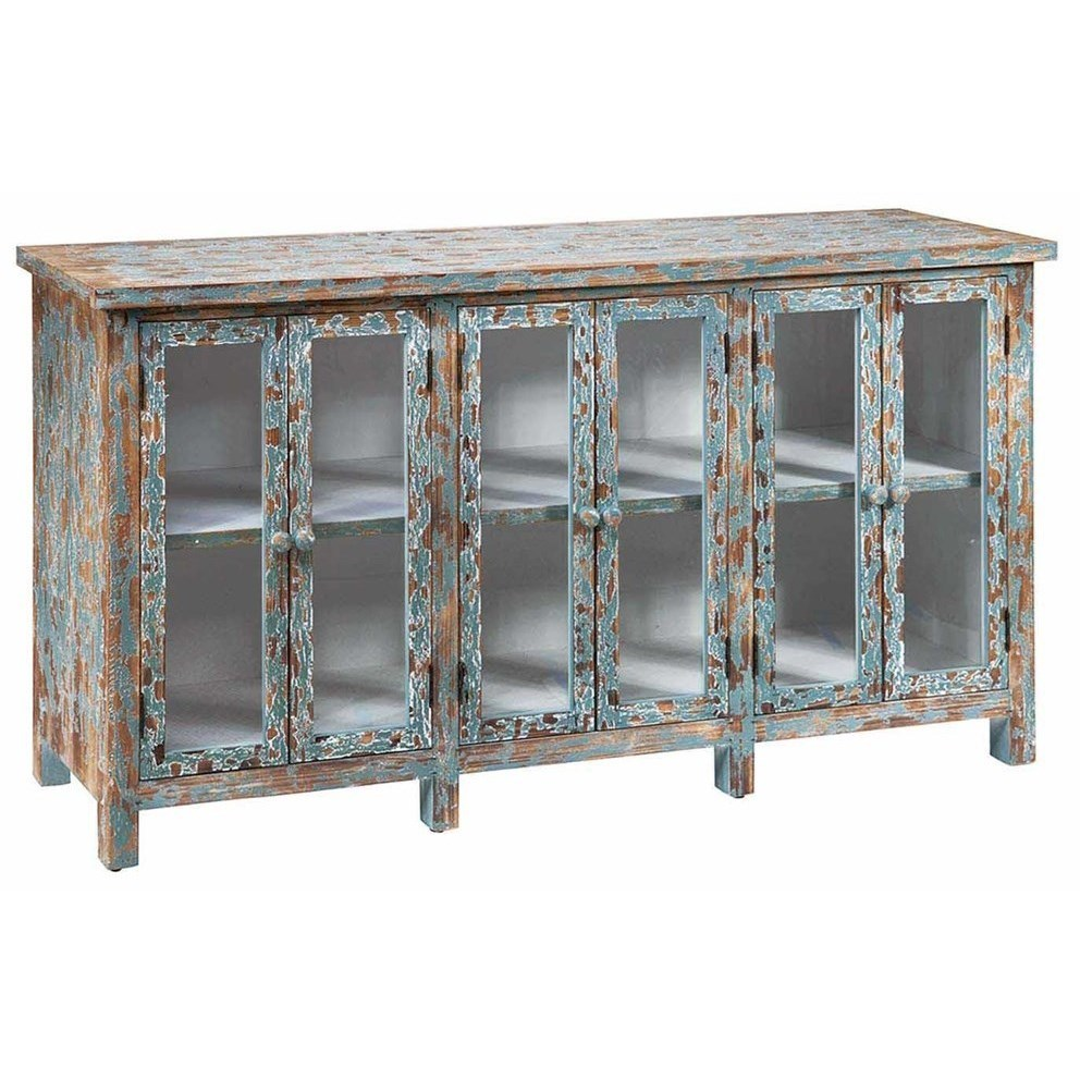 Accent Furniture Dawson Creek Weathered Oak And Cyan 6 Door S by Crestview Collection at Factory Direct Furniture