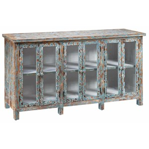 Crestview Collection Accent Furniture Dawson Creek Weathered Oak And Cyan 6 Door S