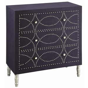 Crestview Collection Accent Furniture Cobalt Blue Fabric And Chrome  Nailhead 3 Dra